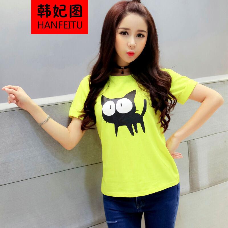 韩妃图2016夏装韩版宽松卡通棉短袖t恤女学生上衣