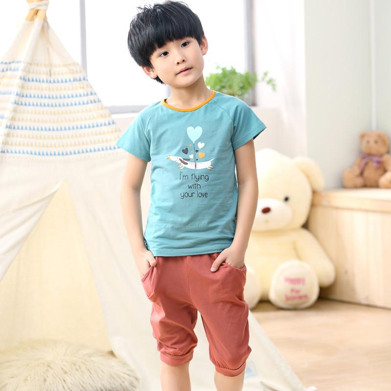 月脚印 儿童睡衣男春夏短袖纯棉男孩子宝宝卡通家居服