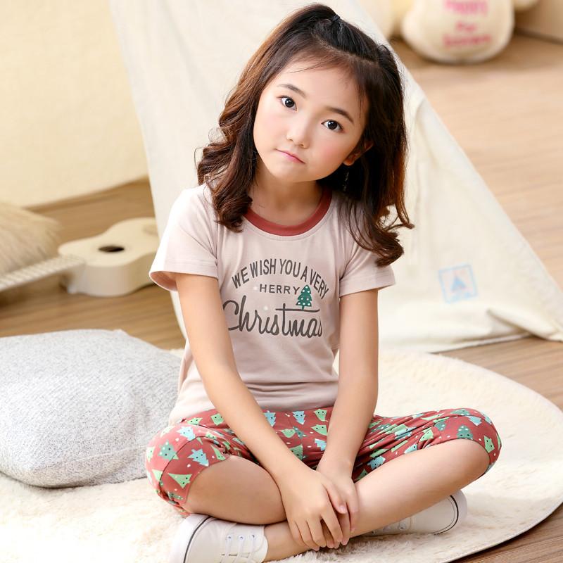儿童睡衣夏季女童纯棉休闲居家可爱薄款短袖小女孩宝宝睡衣家居服