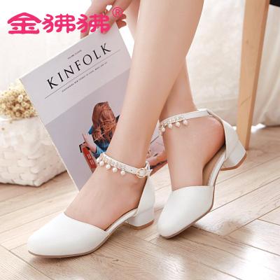 金狒狒韩版新款圆头低跟单鞋一字扣带串珠凉鞋夏季女鞋