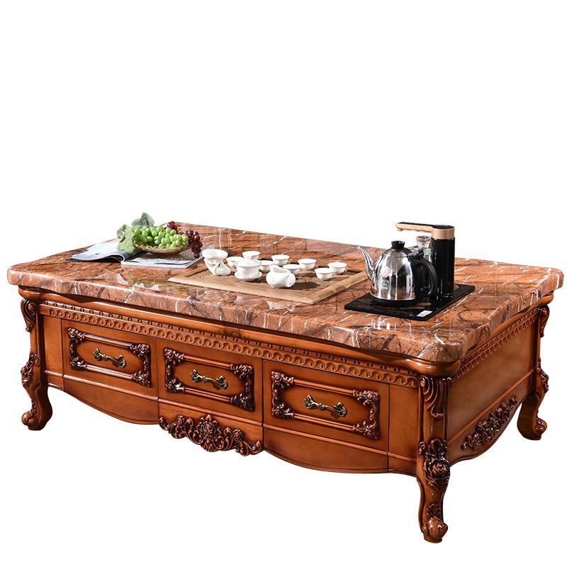 伊莱菲尔 欧式大理石功夫茶几方形实木雕花茶台功夫茶