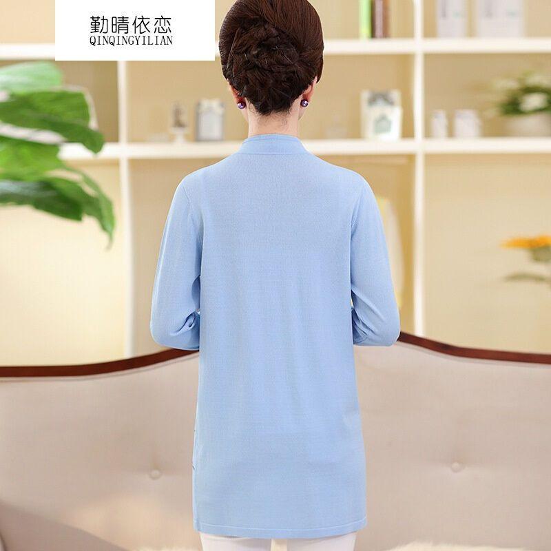 勤晴依恋2017春季新款时尚妈妈装中长款亚麻针织开衫中老年女装绣花