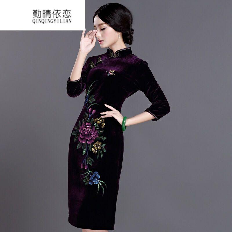 勤晴依恋秋冬装七分袖短款金丝绒旗袍中年妈妈装改良日常中式结婚礼服