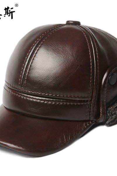 男真皮牛皮雷锋帽海宁皮帽子大冬帽中老年冬季保暖真皮帽子