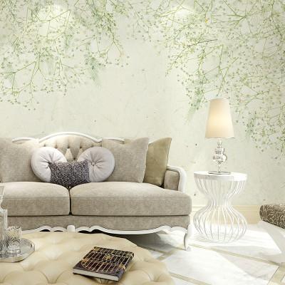 手绘北欧清新花卉背景墙