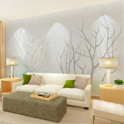 卡茵 北欧风格现代简约手绘电视背景墙壁纸 定制清新沙发墙壁画影视墙图片
