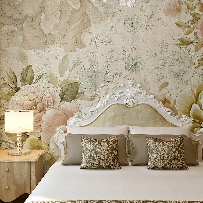卡茵 欧式小碎花手绘电视背景墙壁纸 定制个性图案壁画 田园花卉墙布