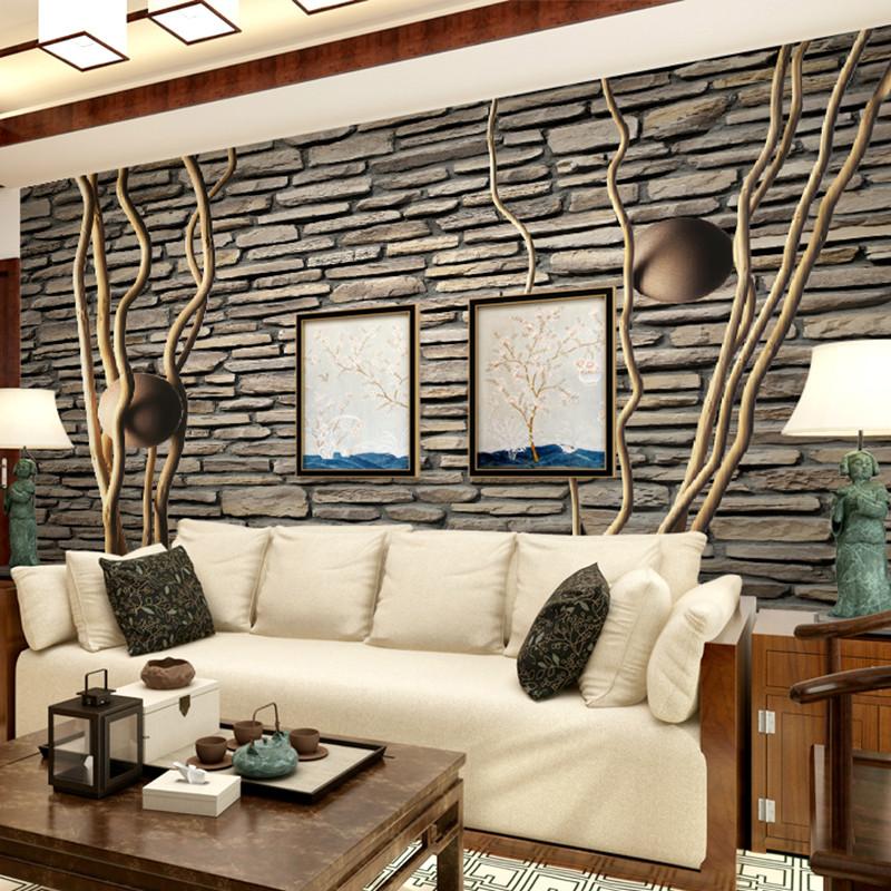 欧式砖头墙纸 电视背景墙壁纸壁画
