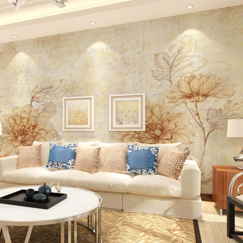 卡茵 欧式花朵电视背景墙壁纸 客厅卧室影视墙沙发墙墙纸 定制个性整