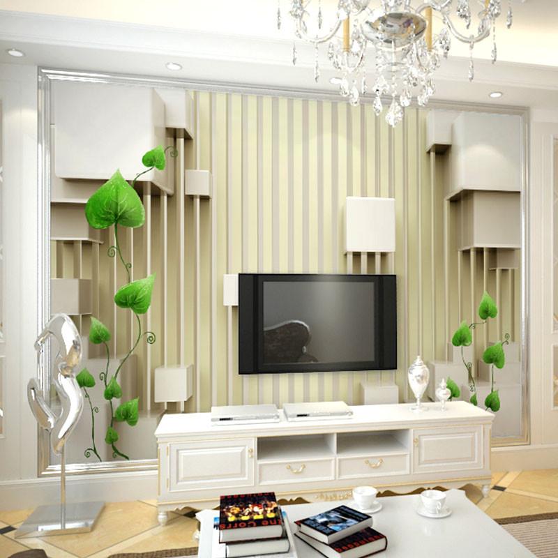 现代简约客厅电视背景墙壁纸3d无纺布壁画欧式墙纸影视墙整张墙布653
