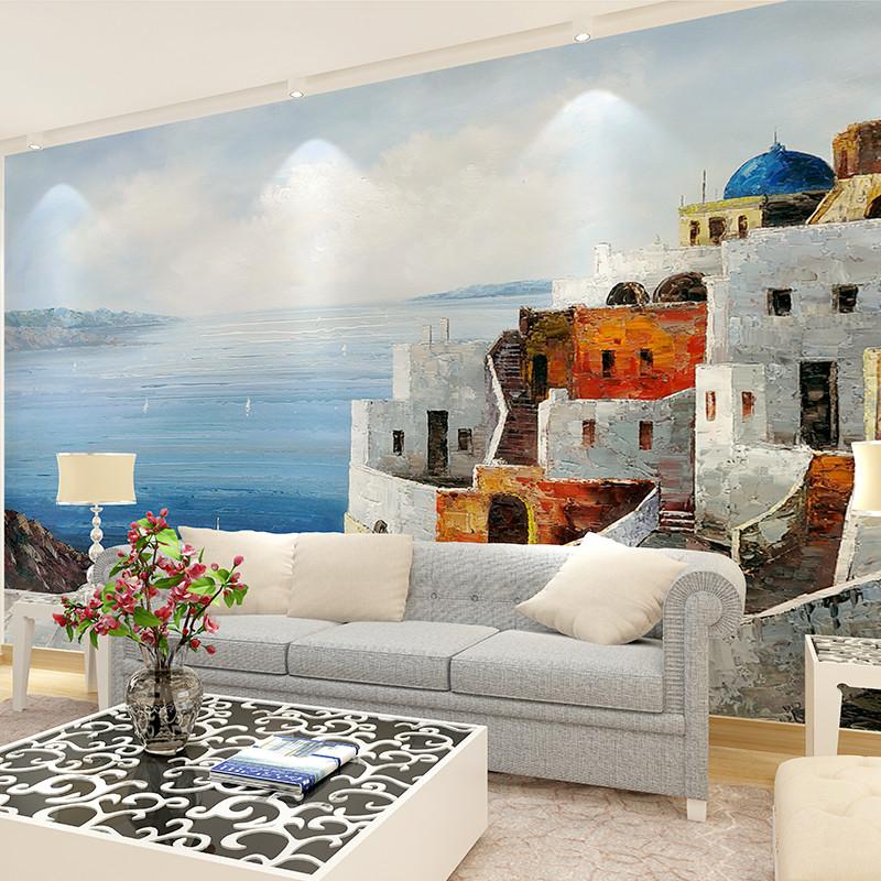 地中海无缝壁纸 客厅电视影视墙壁画