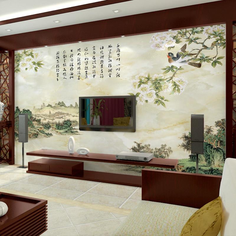 新中式背景墙壁纸 定制创意大型壁画 整张无纺布墙纸 客厅卧室影视墙