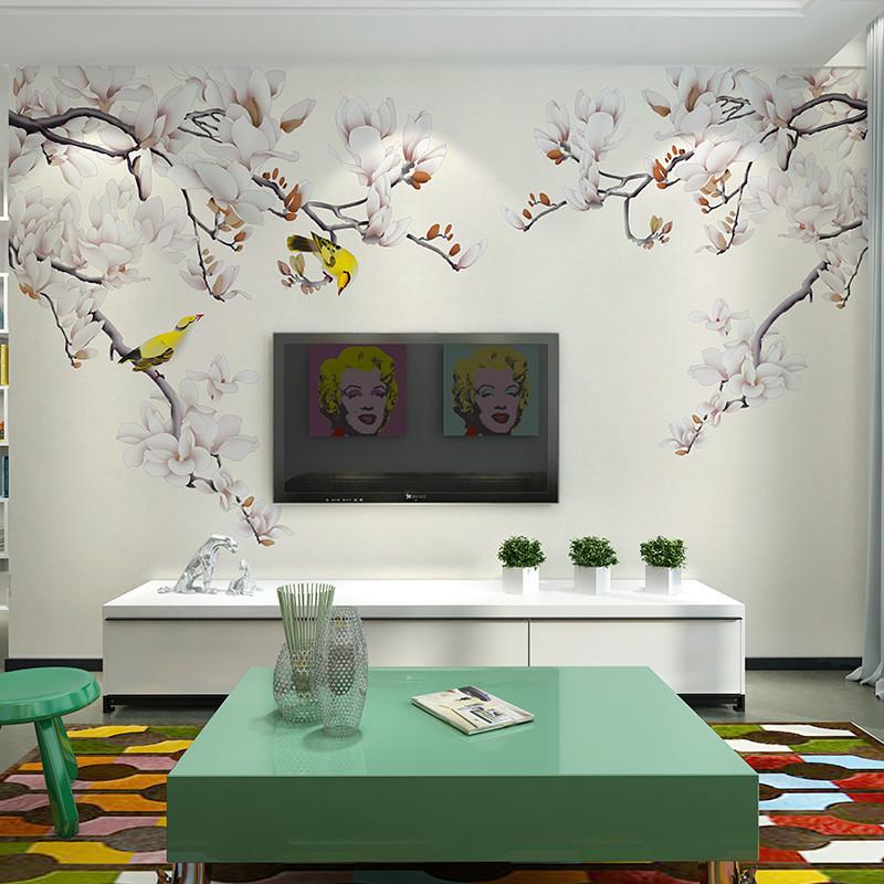 卡茵 中式花鸟客厅电视背景墙壁画 定制沙发墙墙纸 无缝影视墙创意图片