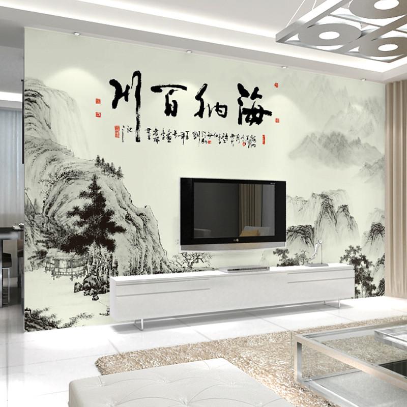 中国风电视背景墙壁纸 水墨画客厅影视墙大型壁画 卧室新中式墙纸整张图片