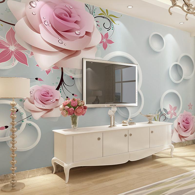 卡茵3d立體大型無縫壁紙客廳電視背景墻壁畫婚房墻布整張無紡布墻紙