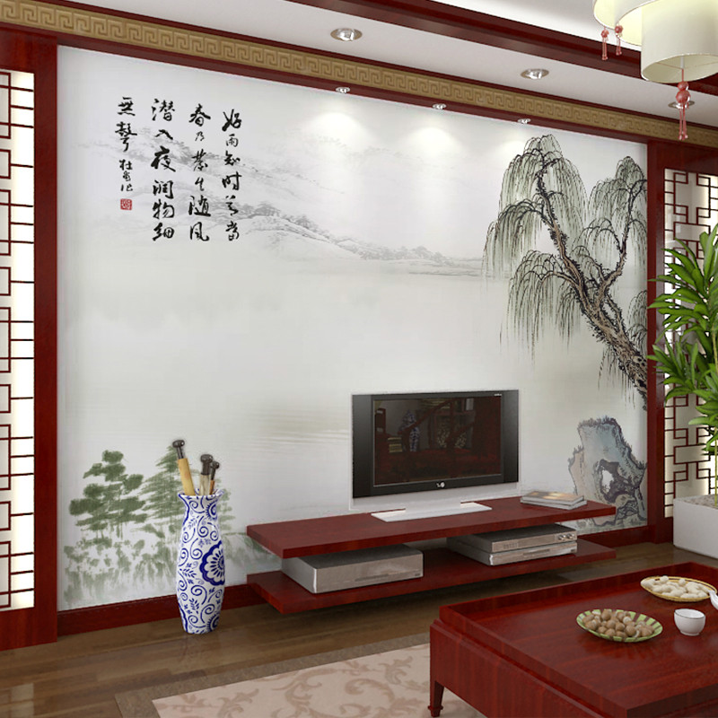 卡茵 中式水墨客厅电视背景墙壁画 书房定制无纺布创意墙纸 影视墙