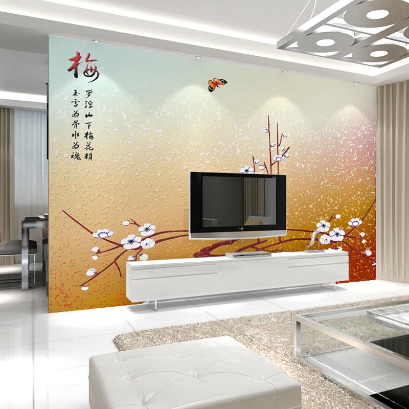 中式时尚花卉客厅电视背景墙壁画