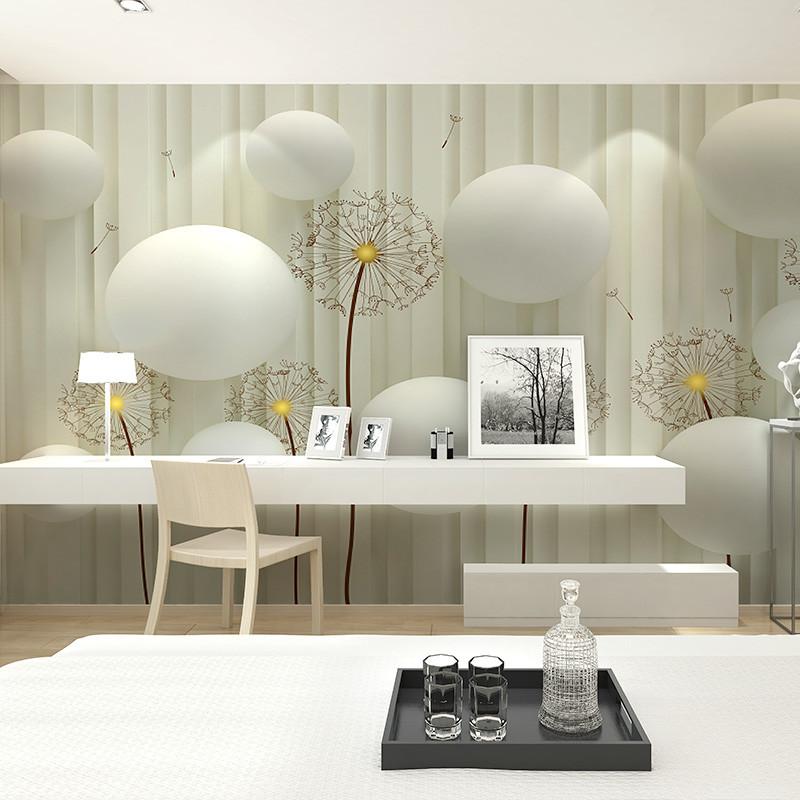 卡茵3d立体背景墙壁画 客厅影视墙创意蒲公英壁纸 卧室定制墙纸2028