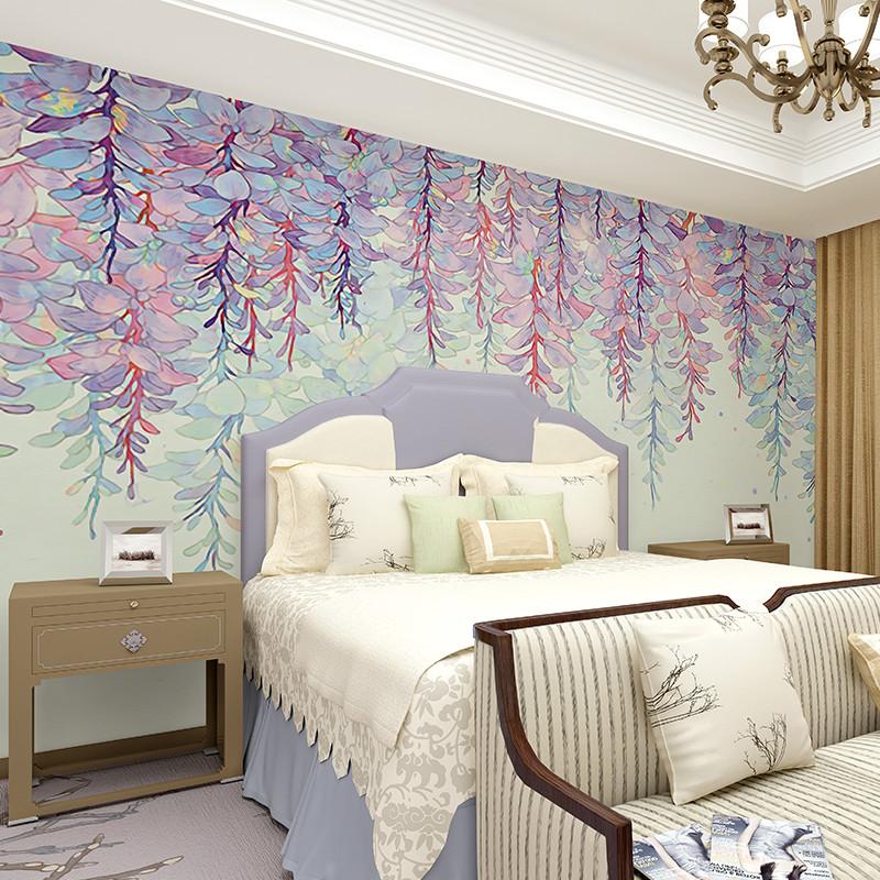 卡茵 田园风格美式墙纸卧室无纺布创意壁纸背景墙定制图片