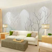 定制清新沙发墙壁画影视墙墙纸卧室墙布4689图片