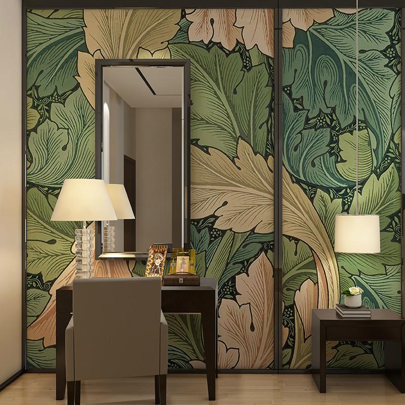 卡茵 美式油画背景墙墙纸 个性定制现代简约叶子花纹影视墙沙发墙壁画
