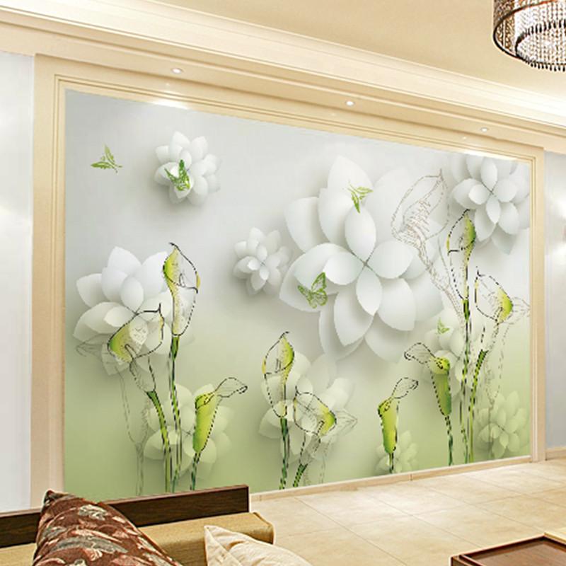 卡茵 美式时尚花卉客厅电视背景墙壁画 简约影视墙创意壁纸