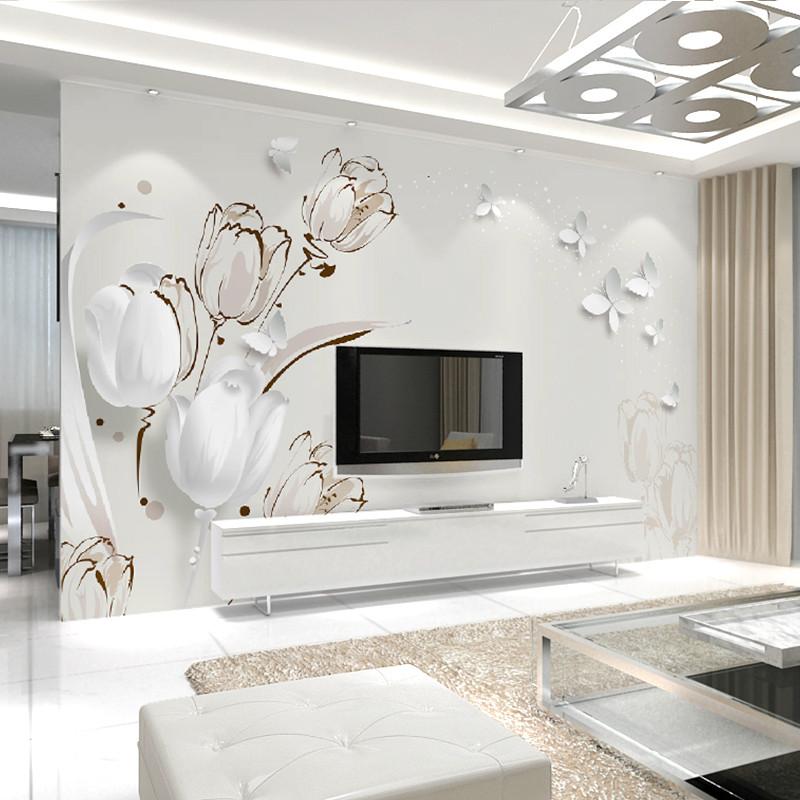 卡茵3d立體郁金香蝴蝶電視背景墻壁紙 大型客廳壁畫 歐式無紡布墻紙