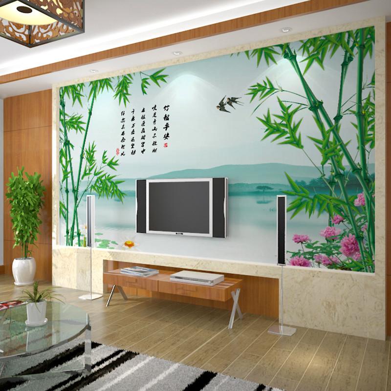 卡茵 中式定制客厅电视背景墙壁画 无缝创意无纺布影视墙壁纸