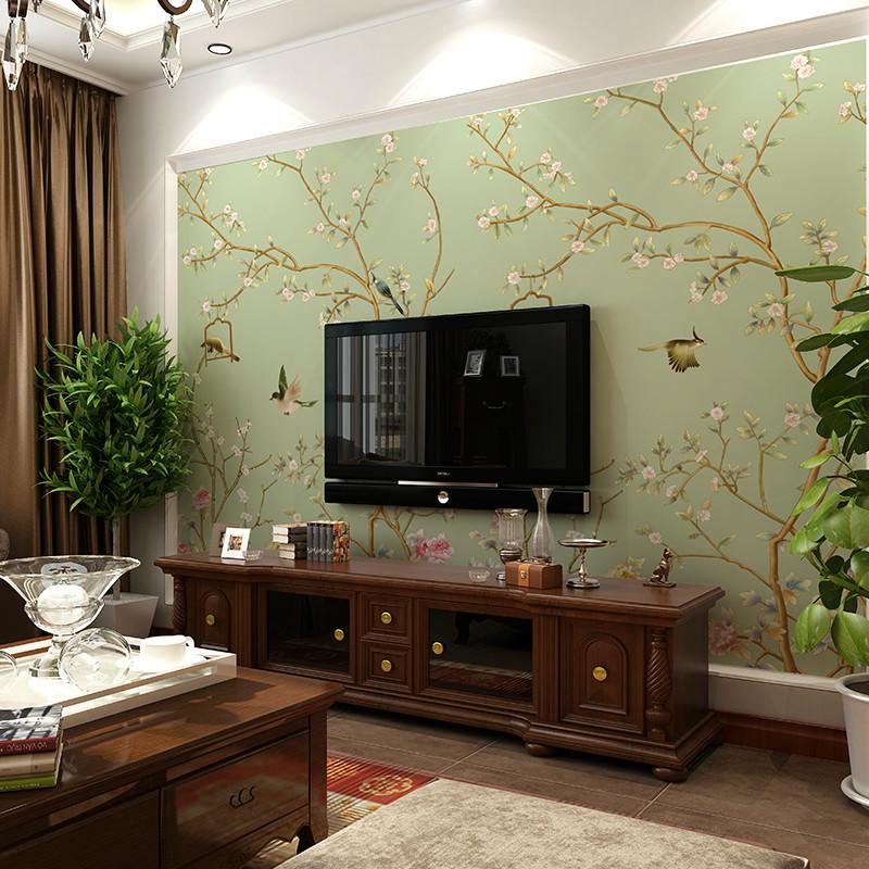卡茵 现代中式梅花整张无缝壁纸 客厅电视背景墙壁画 卧室墙布图片