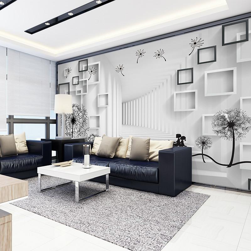 卡茵 现代简约3d空间电视背景墙壁纸蒲公英卧室壁画书房墙纸定制墙布