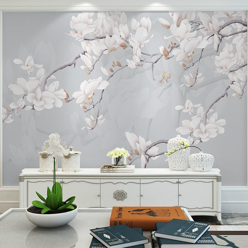 手绘高清简约玉兰花电视背景墙壁画定制墙绘手绘壁画书房壁布影视墙