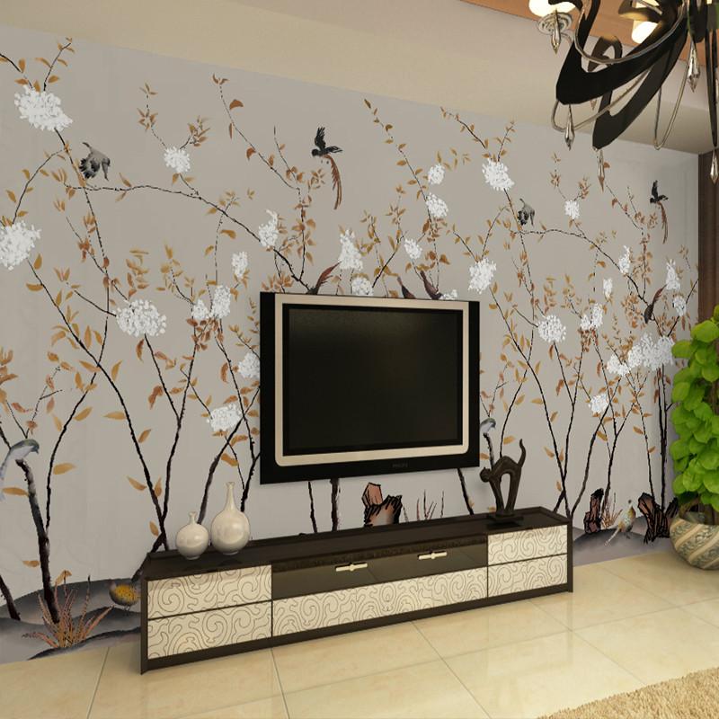 卡茵中式温馨花鸟图客厅电视背景墙壁纸素雅书房无缝壁画影视墙墙纸