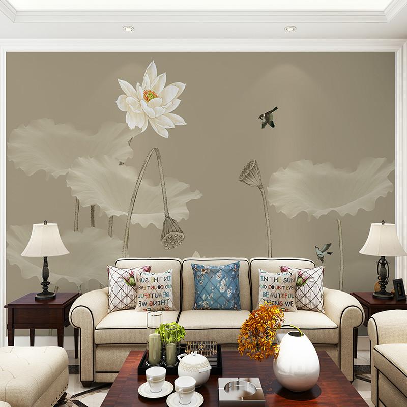 卡茵 中式客厅电视背景墙壁纸 沙发墙壁画 素雅荷花书房墙纸无纺布