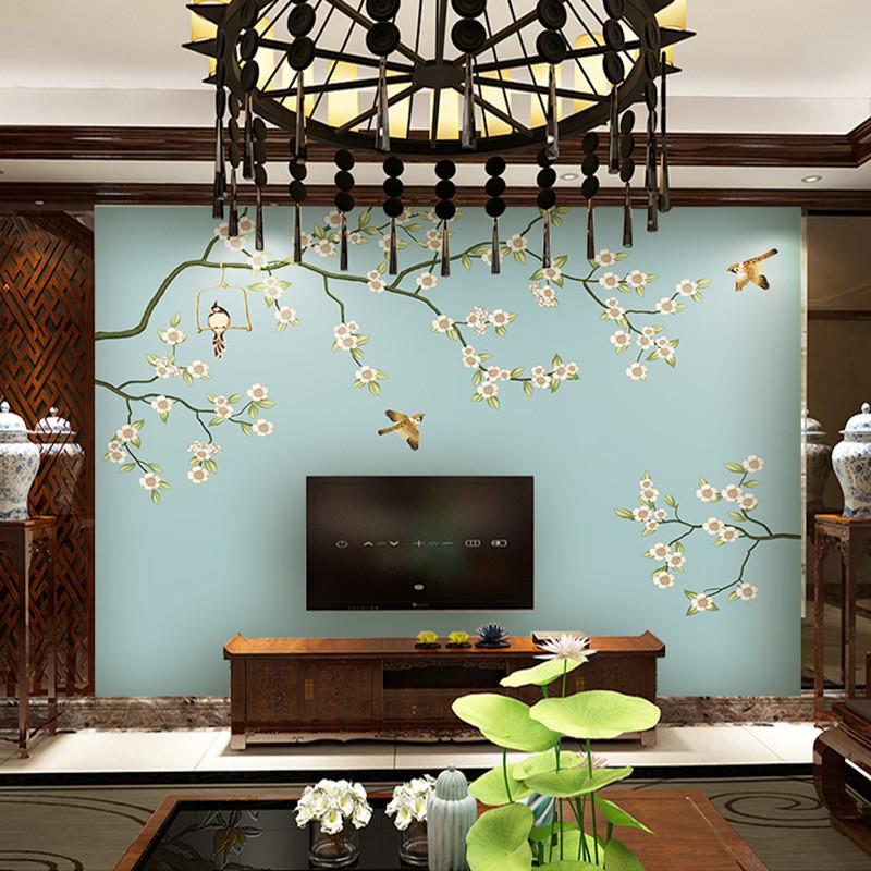 中式电视背景墙壁画花鸟沙发背景墙壁纸定制影视墙墙纸手绘墙布