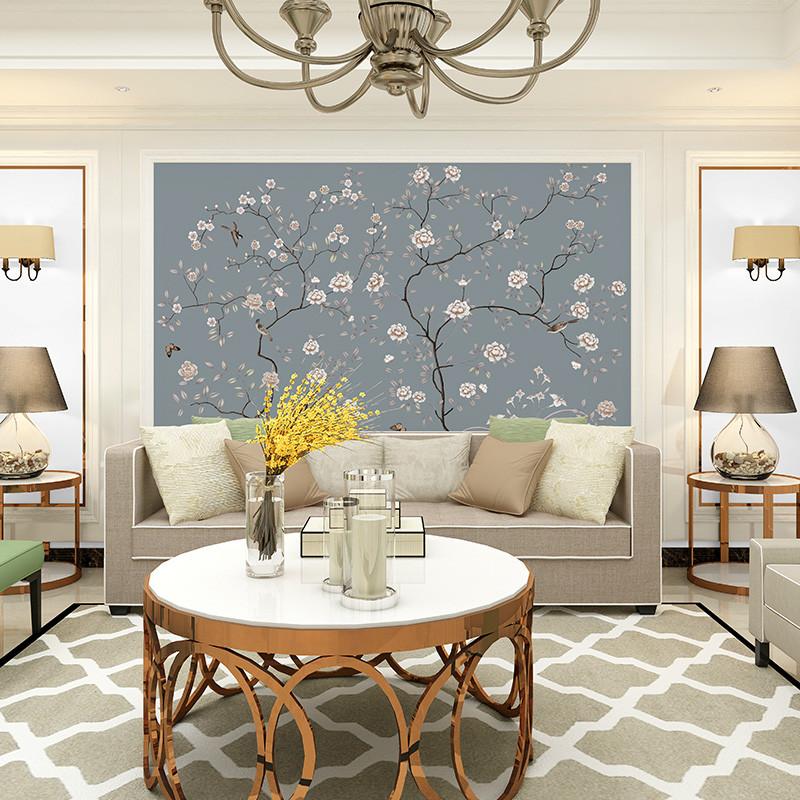 中式背景墙壁画手绘花鸟沙发背景墙壁纸工笔花书房墙纸影视墙墙布图片