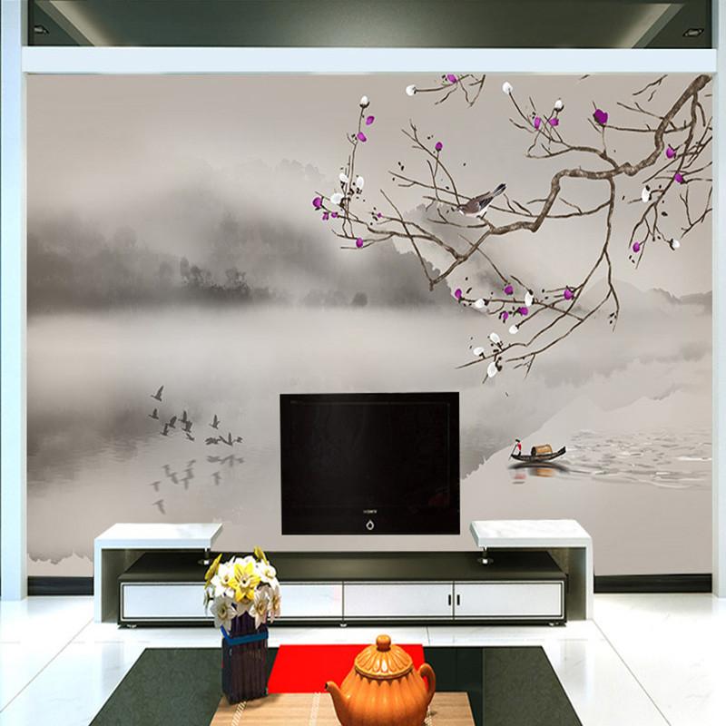 手绘中式电视背景墙壁画工笔梅花书房壁纸山水办公室墙纸定制墙布