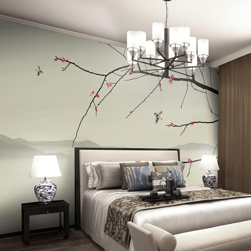 中式电视背景墙壁纸手绘水墨书房壁画工笔梅花办公室墙纸客厅墙布