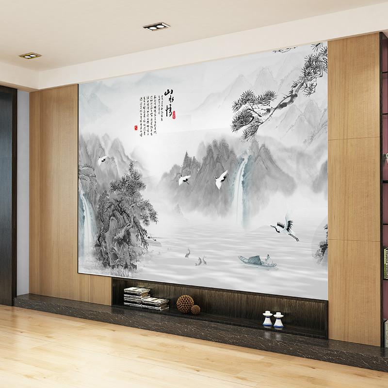 中式客厅电视背景墙壁画山水情影墙壁纸水墨国画书房墙纸定制墙布