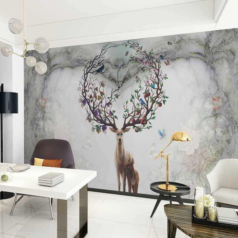 北欧复古麋鹿心形电视背景墙壁画简约现代客厅壁纸手绘卧室墙纸图片