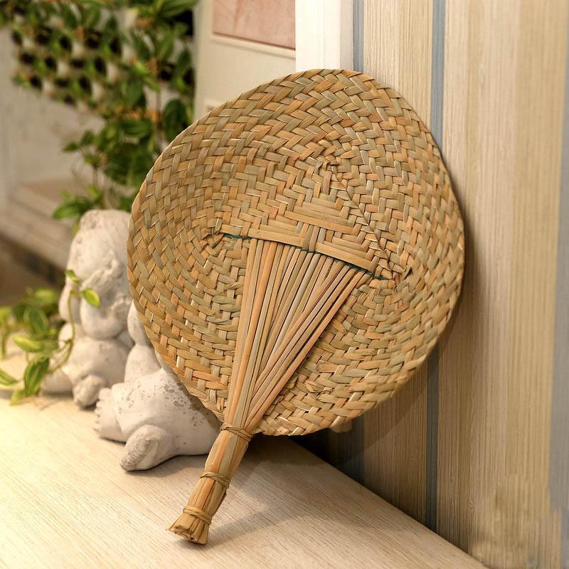 草编扇子手工编织蒲扇礼品工艺品扇子夏季清凉风大圆形扇子蒲草编织圆