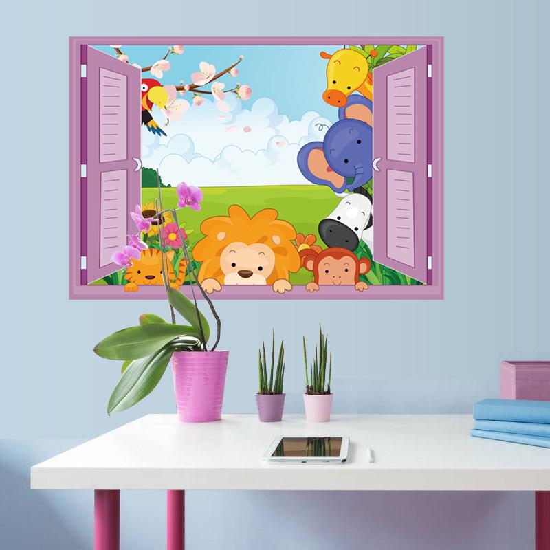 壁贴 立体效果墙贴 平面假窗户墙贴纸 儿童房幼儿园卡通贴画 装饰贴画
