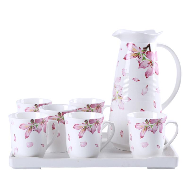 创意凉水壶 陶瓷冷凉水瓶 欧式陶瓷冷水壶 水杯杯具套装图片