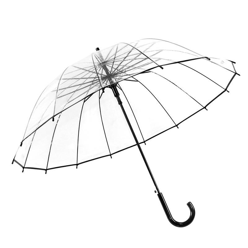 16骨加厚透明雨伞 个性小清新直长柄伞 创意自动男女情侣伞图片