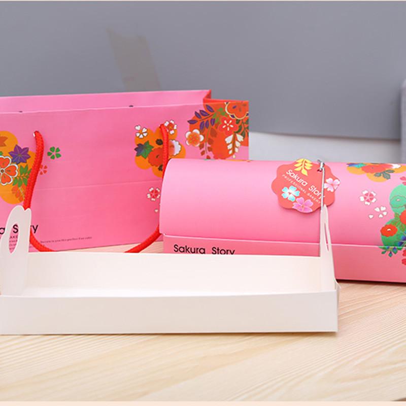 蛋糕卷包装盒瑞士卷慕斯蛋糕盒子手提长条面包盒烘培西点外包装盒