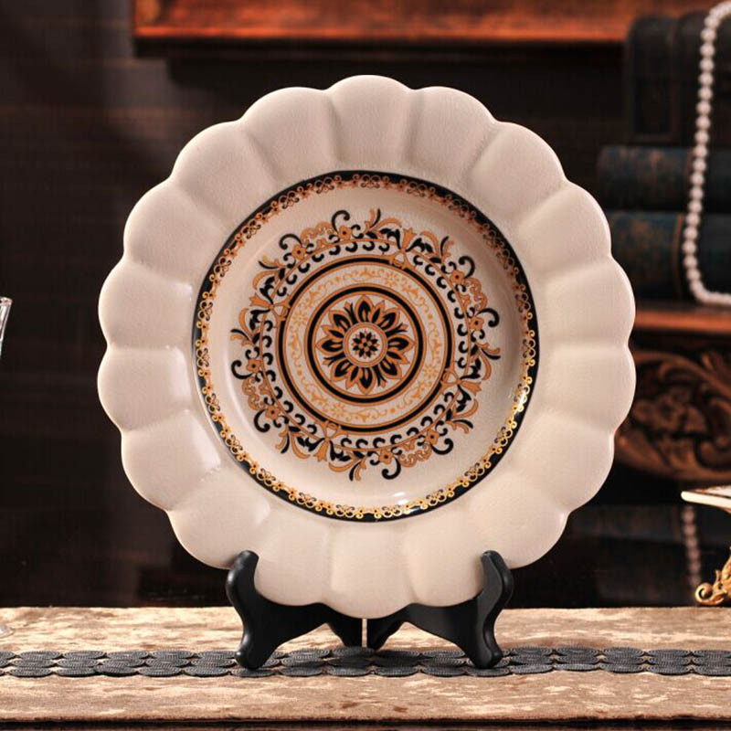 创意欧式套装糖果收纳罐装饰盘茶叶罐摆盘陶制描金装饰摆件-阿波罗
