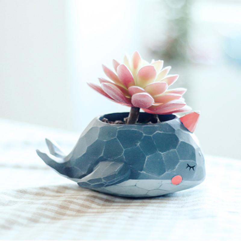 多肉花盆创意可爱卡通小动物植物装饰小摆件盆栽小容器-鲸鱼岛樱花粉