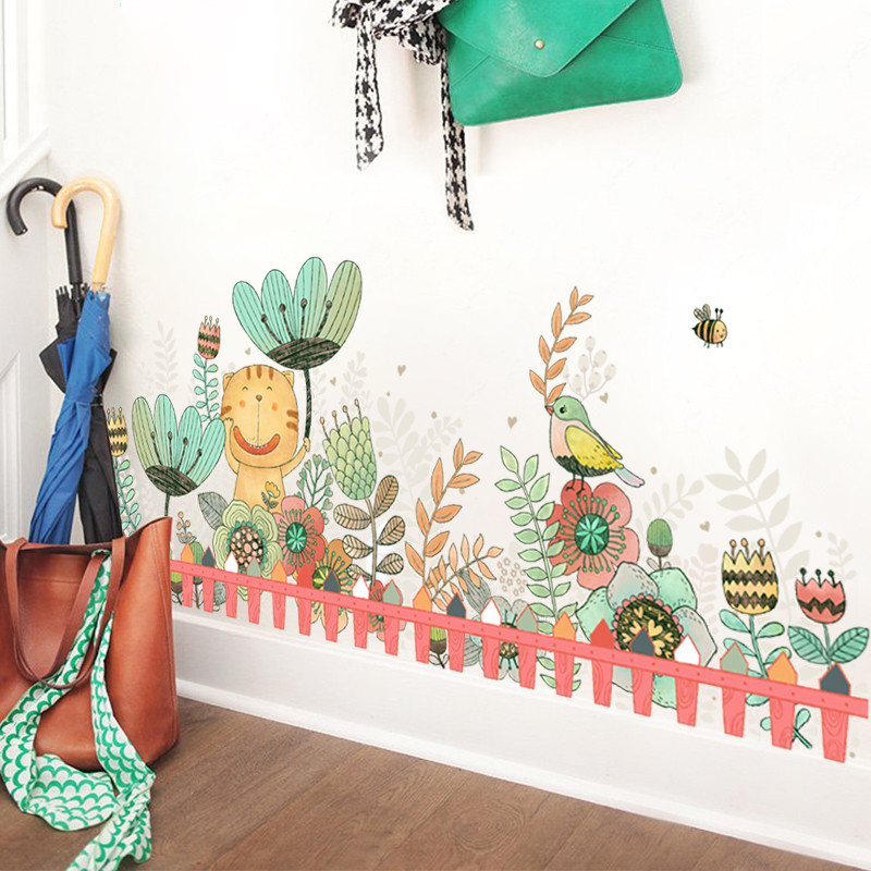 卡通儿童房墙贴卧室走廊玄关动物花卉贴画可爱幼儿园植物踢脚线墙贴纸