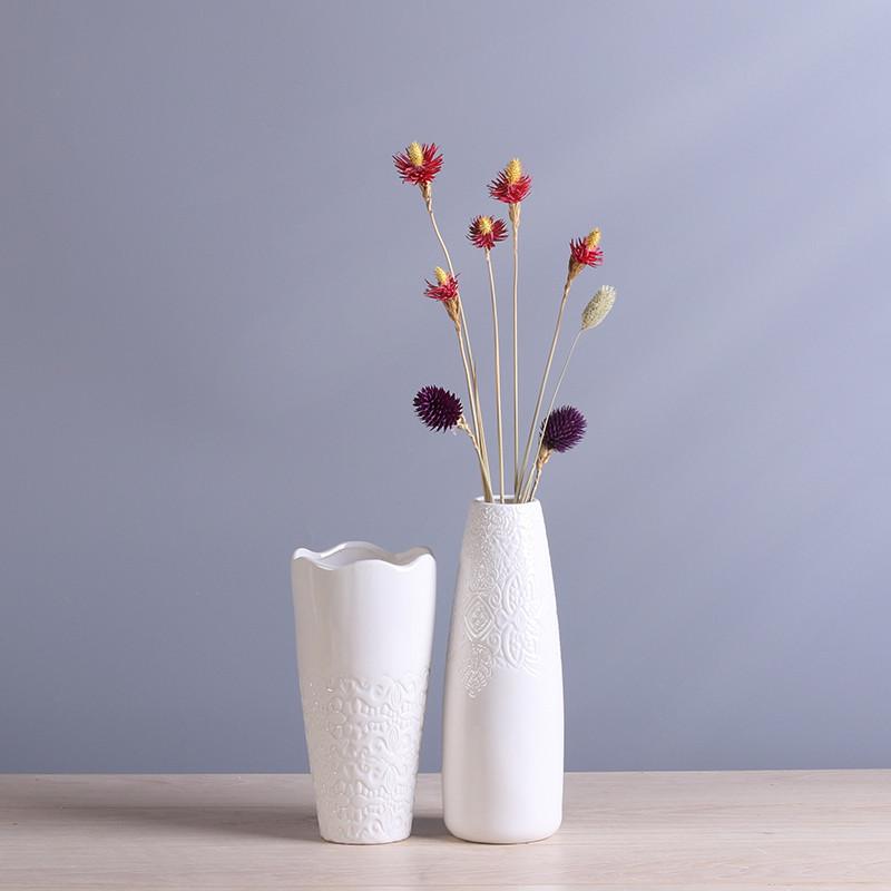 欧式白色花瓶陶瓷客厅装饰品创意摆件现代家居简约文艺插花装饰品