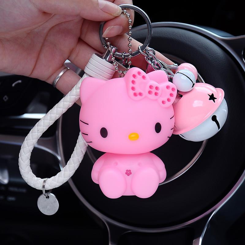 可爱卡通猫钥匙链钥匙扣男女款猫咪公仔汽车钥匙挂件包包挂饰-坐