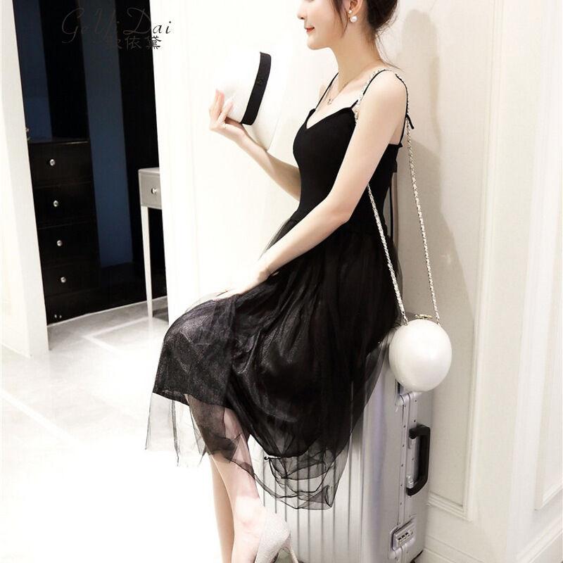 歌依黛夏季新款网纱拼接长裙针织吊带裙